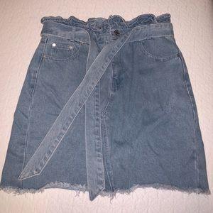 Anthropologie high-waisted jean skirt